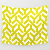 yellow pattern Wall Tapestries featuring Yellow Geometry Pattern by VessDSign