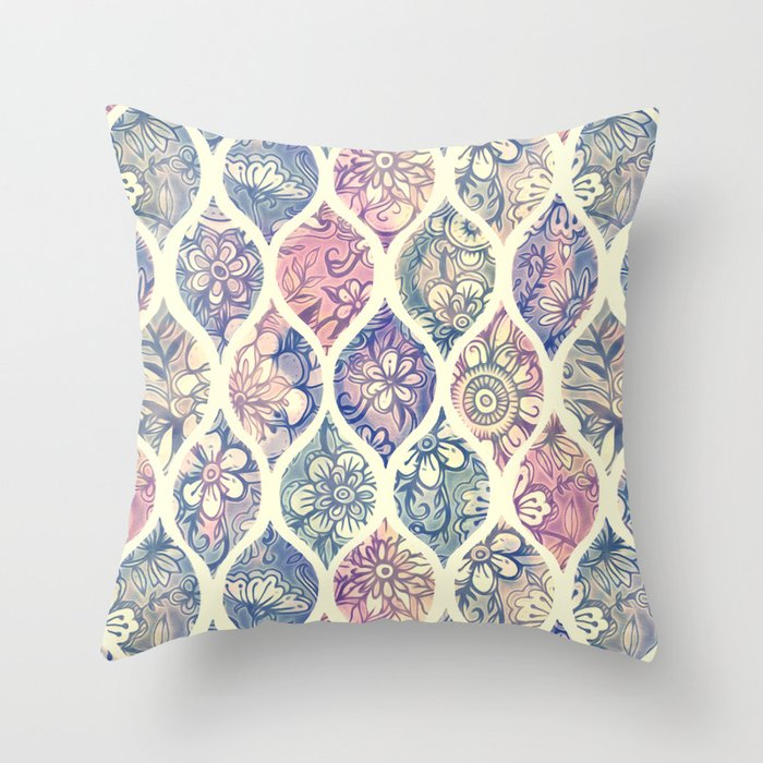 Patterned & Painted Floral Ogee in Vintage Tones Throw Pillow