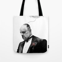 the godfather Tote Bags featuring The Godfather by Printer's Devil