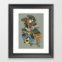 Samurai and Pug Framed Art Print