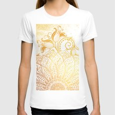 Mandala - Golden brush White Womens Fitted Tee MEDIUM