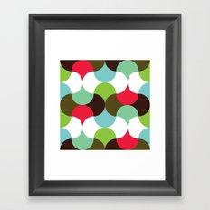 Red, green, brown curve pattern Framed Art Print