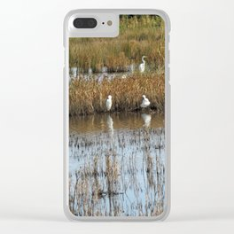 White Egrets Resting and Grooming Clear iPhone Case