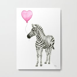Zebra with Balloon Animal Watercolor Whimsical Animals Metal Print