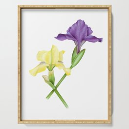 Watercolor irises Serving Tray