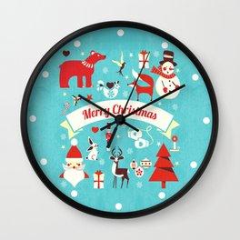Christmas icons illustration Wall Clock