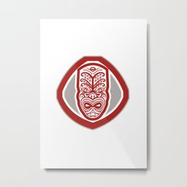 Maori Mask Face Front Shield Retro Metal Print
