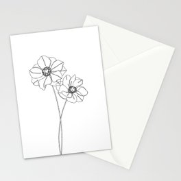 Botanical illustration line drawing - Anemones Stationery Cards