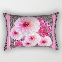GREY & PINK PATTERNED FUCHSIA CERISE-WHITE DAHLIAS Rectangular Pillow