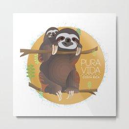 Sloth Pura Vida Metal Print