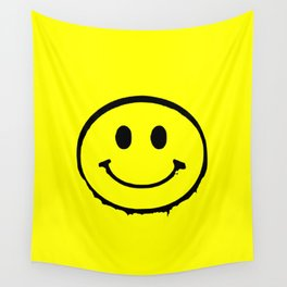 smiley face rave music logo Wall Tapestry