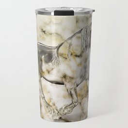 Horse in the race.Marble background Travel Mug