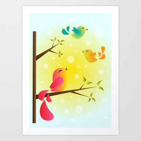 Fly High, My Babies! Art Print