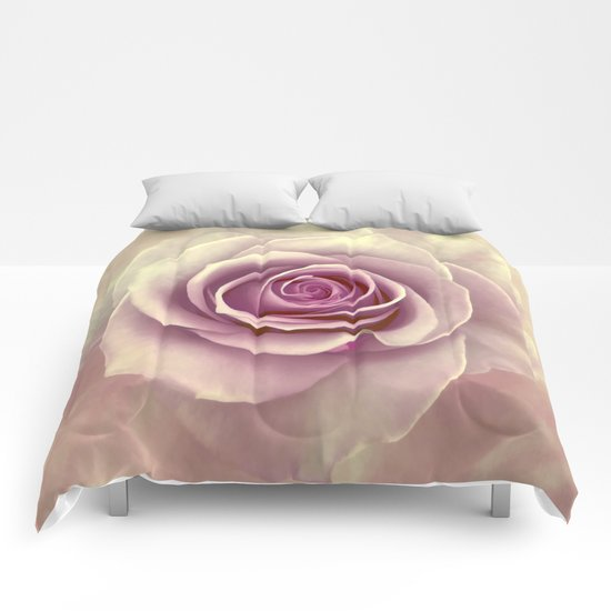 Tea Rose Painterly Abstract Comforters