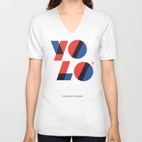 yolo V-neck T-shirts featuring Yolo by Wharton
