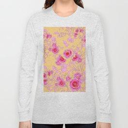 PINK-RED ROSE ABSTRACT FLORAL GARDEN ART Long Sleeve T-shirt