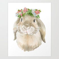 Lop Rabbit Floral Wreath Watercolor Painting Art Print