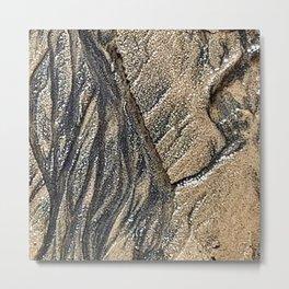 MorningWalks Low Tide Sand Metal Print