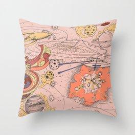 Galactic Battle Print Throw Pillow