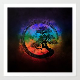 Enso Zen Circle and Bonsai Tree Nebula Art Print
