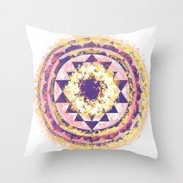 Golden Fire Sri Yantra Throw Pillow