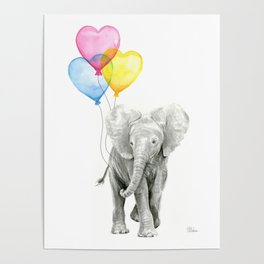 Elephant Watercolor with Balloons Rainbow Hearts Baby Animal Nursery Prints Poster