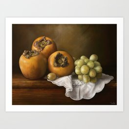 ' Classic Still Life with Persimmons and Grape ' Art Print