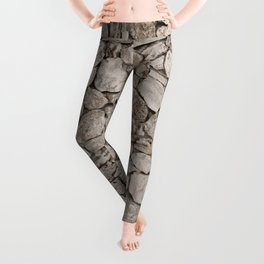 Old Rustic Stone Wall Leggings