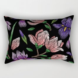 Embroidered Flowers on Black Pattern 02 Rectangular Pillow