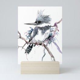 Belted Kingfisher, Gray design, Gray design Mini Art Print