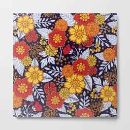 Red, Yellow, Orange & Navy Blue Flowers/Floral Pattern Metal Print
