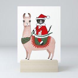 Santa Claws and Llama 2 Mini Art Print