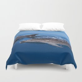 Mother and baby spotted dolphin Duvet Cover