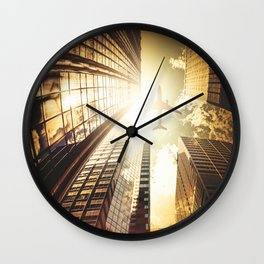 airplane in new york city Wall Clock