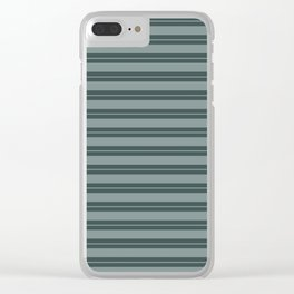 Scarborough Green PPG1145-5 Horizontal Stripes Pattern 1 on Night Watch PPG1145-7 Clear iPhone Case