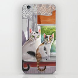 Two cats on a window ledge iPhone Skin
