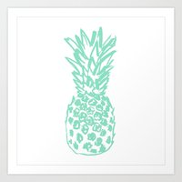 pinapple Art Prints featuring Pineapple by Victoria Giralt