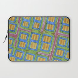Pastel Colored Striped Squares Pattern  Laptop Sleeve
