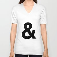 helvetica V-neck T-shirts featuring HELVETICA & letter by Design Art Helvetica and Abstract Art, m