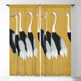 A traditional portrait of a flock of beautiful Japanese red crown crane by Ogata Korin (1658-1716) Blackout Curtain