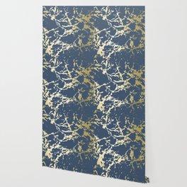 Kintsugi Ceramic Gold on Indigo Blue Wallpaper
