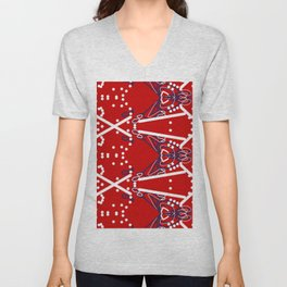 Tile #6 White-Blue Line Art on Red Unisex V-Neck