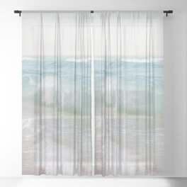 Beach Waves | Photography Summer Vibes | Sun Fun | Water Ocean | Salt | Sea Sheer Curtain