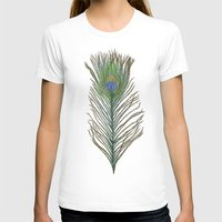 peacock feather T-shirts featuring Peacock Feather by Sophie Wedd