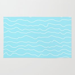 Turquoise with White Squiggly Lines Rug