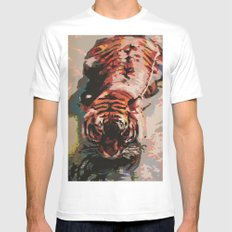 Tiger in the Water Painting Mens Fitted Tee White MEDIUM