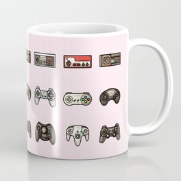 Retro Game Controllers Light Pink Coffee Mug
