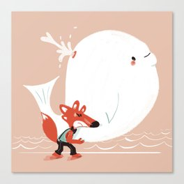 Fox and Whale Canvas Print