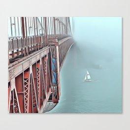 Golden Gate Fog Airbrush Artwork Canvas Print