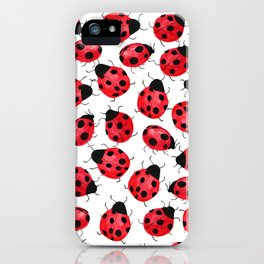 Watercolor Lady Bugs - Red Black Watercolor Insects iPhone Case